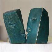 """ Le baiser "" - bronze patiné bleu"