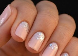 Light pink nails with a touch of sparkle!  Cute for the wedding:)