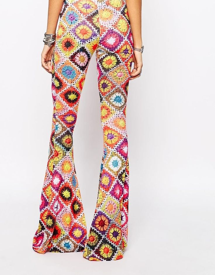 Outstanding Crochet: Rokoko Skinny Flare Pants In 70s Festival Crochet Print Co-ord