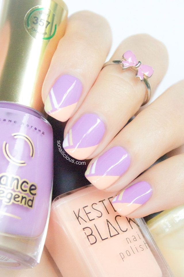 Pretty Lilac Nails Tutorial: http://sonailicious.com/geometric-french-tip-nails-tutorial/