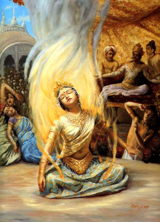 SB Canto 4: The wife of Shiva, Sati, preferred to burn herself in a mystic fire than endure her father's envious insults toward Lord Shiva.