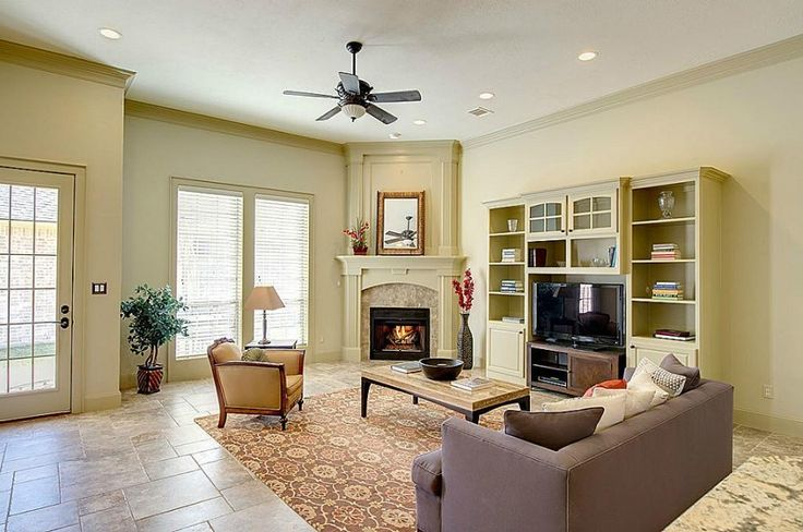 corner fireplace next to built in cabinets for tv | ... Corner ...