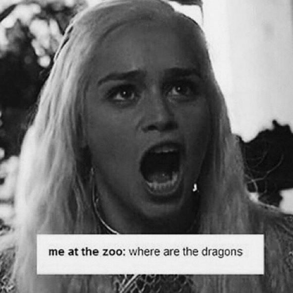 Game of Thrones | Me at the zoo: Where. Are. The. Dragons.