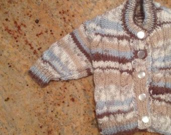 Knitted Baby Button Up Cardigan by NannysKnitsShop on Etsy