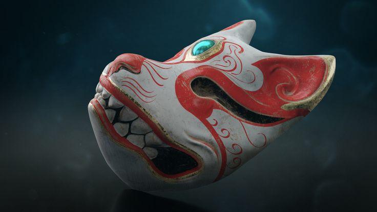 Kitsune Mask, Marko R on ArtStation at https://www.artstation.com/artwork/4R1Gl