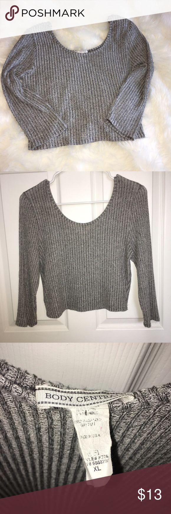 Body Central longsleeve crop top size XL Gray longsleeve crop top, soft sweater material, lightweight, size XL. Good condition, has some pilling. Body Central Tops Crop Tops