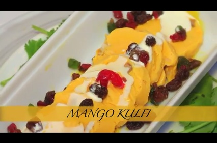 Mango Kulfi is our home made Indian ice-cream with milk and mango