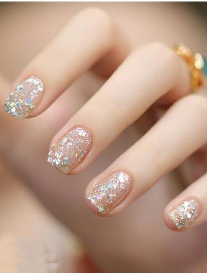 Pin by Christina S on nailed it!   Clear glitter nails ...
