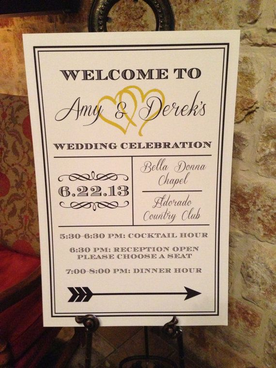 Royal Wedding Reception Welcome Sign Board Poster DIY Directional.  Navy Blue & Yellow. #brandingchick