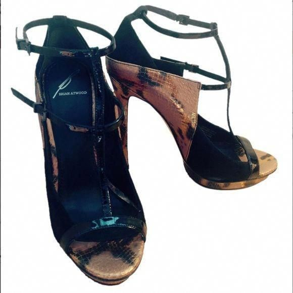 8db089297ff Brian Atwood Campisa Black/ Bronze Snakeskin Heels Brand New! Unworn ...
