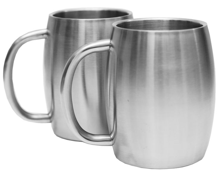 Stainless Steel 14 Oz Double Walled Insulated Coffee Beer Tea Mugs Set Of 2