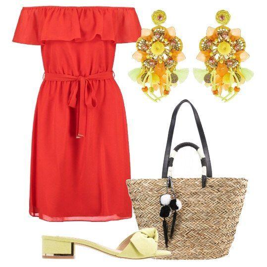 Un vestito rosso corto, con spalle scoperte e cintura, abbinato a ciabattine con tacco basso e nastro, shopping bag con pon pon e grandi orecchini. Perfette per un aperitivo e per passeggiare.