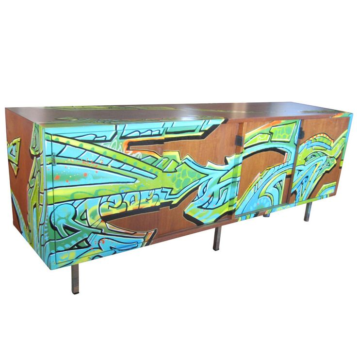 Vintage Florence Knoll Credenza With Graffiti By Artist GONZO247