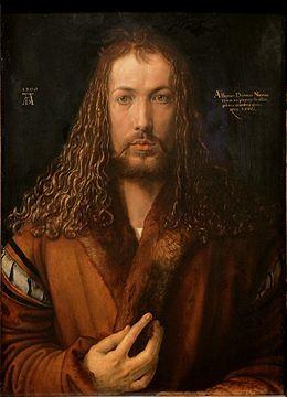 Autoportrait à la fourrure - Albrecht Dürer 1500 ( Alte Pinakothek de Munich) [Renaissance allemande] Dürer fut l'un des premiers peintres à signer ses oeuvres Un autoportrait très pompeux contenant des ressemblances avec des représentations antérieurs du Christ. On peut y voir une immitation ou le placement de l'artiste dans le rôle de créateur