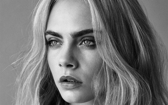 Download wallpapers Cara Delevingne, face, portrait, 4k, British top model, fashion model, monochrome
