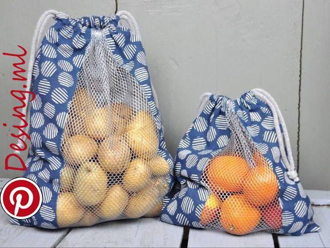 Gemüse- oder Brotbeutel zum Einkaufen, gegen den Plastikmüll! Hier finden Sie ein kostenloses Tutorial zum Nähen mit…