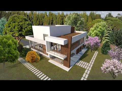 Modern house on 3 stories. Metallic frame house design.