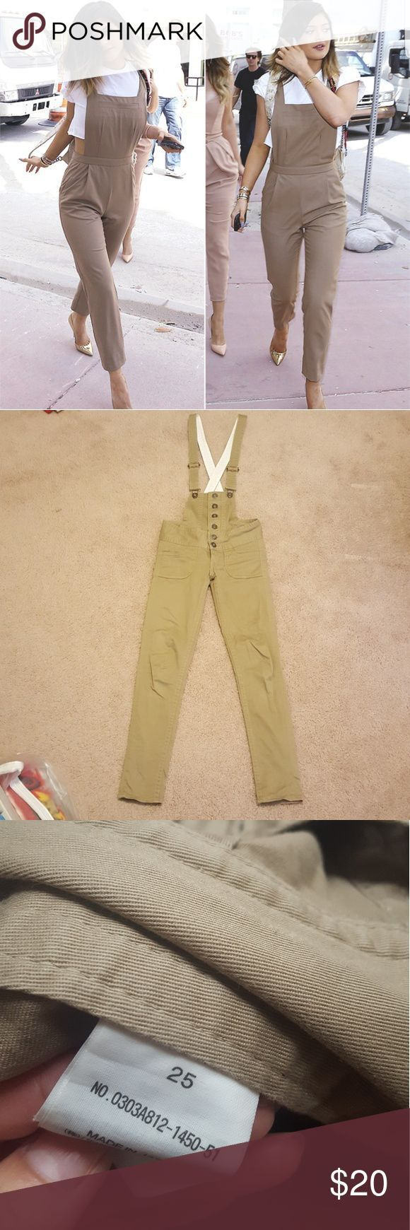 Tendance salopette 2017  SLY jeans overall beige SZ 25 Worn 2-3 times  Brand is SLY jeans not Kendall &a
