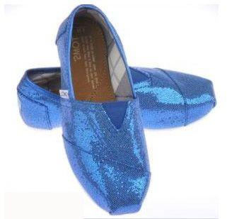 Blue Glitter Toms Shoes Women For Sale Cheap