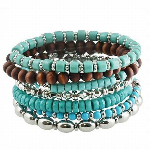 Silvertone Turquoise Color 7 pc Beaded Stackable Bangle Bracelet Fashion Jewelry