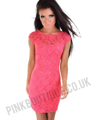Alana Coral Lace and Sequin Dress | Pink Boutique