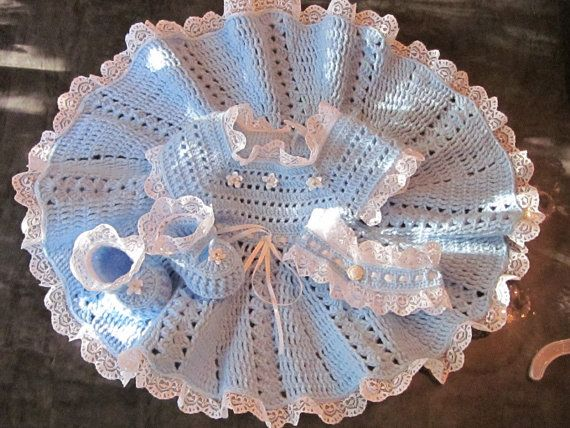 Handmade Baby Girl Crochet Dress Head Band and by MagicalStrings, $65.00