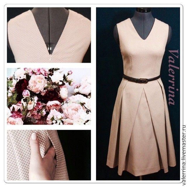 Купить Платье со складками - бежевый, рисунок, платье, платье летнее, летнее платье