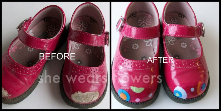 Kids' patent leather shoe repair with ModPodge. Cute enough -- it just might work! (I'm beginning to think that baking soda, elastic thread, and MP is all that's needed in my world.)