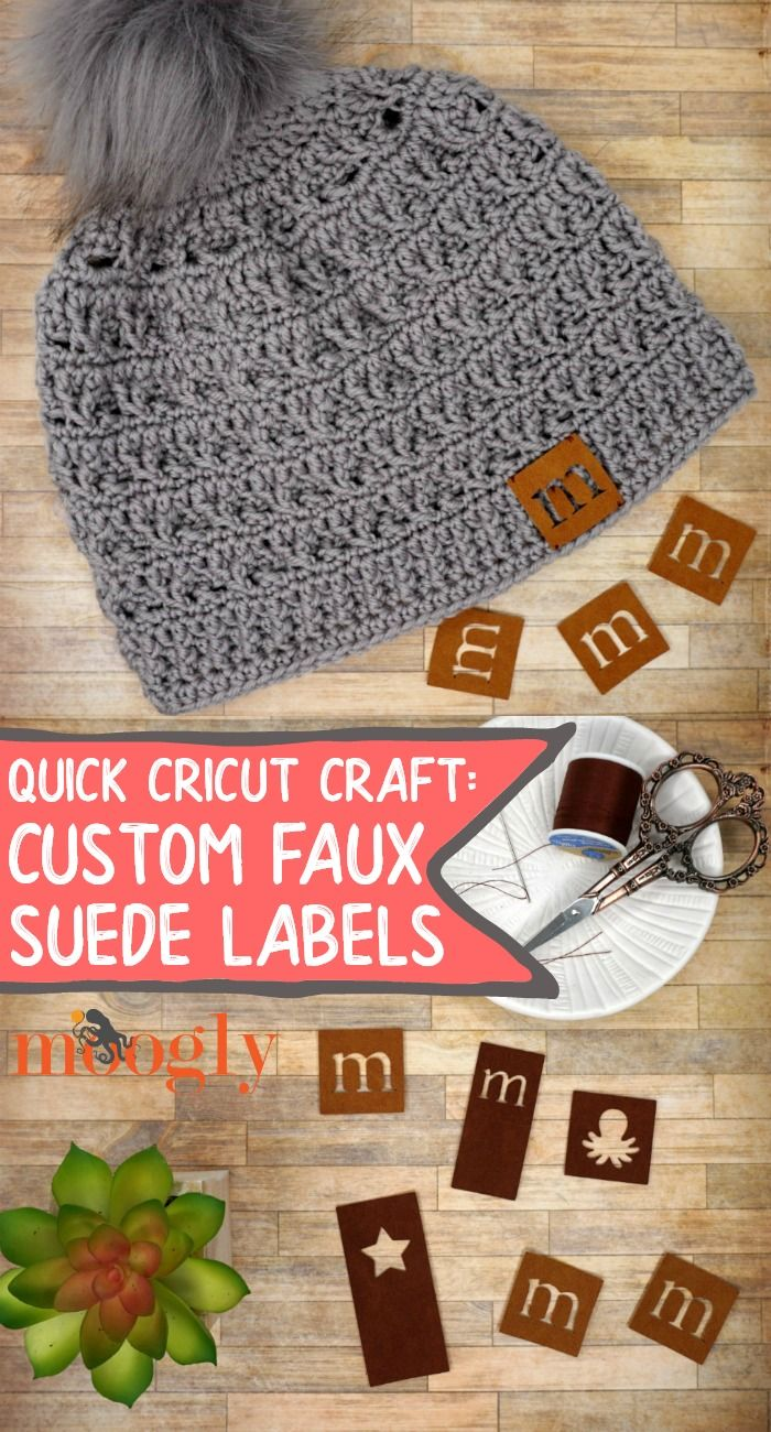 Custom hat labels are super popular right now and you can make your own custom faux suede labels with this quick cricut craft on moogly