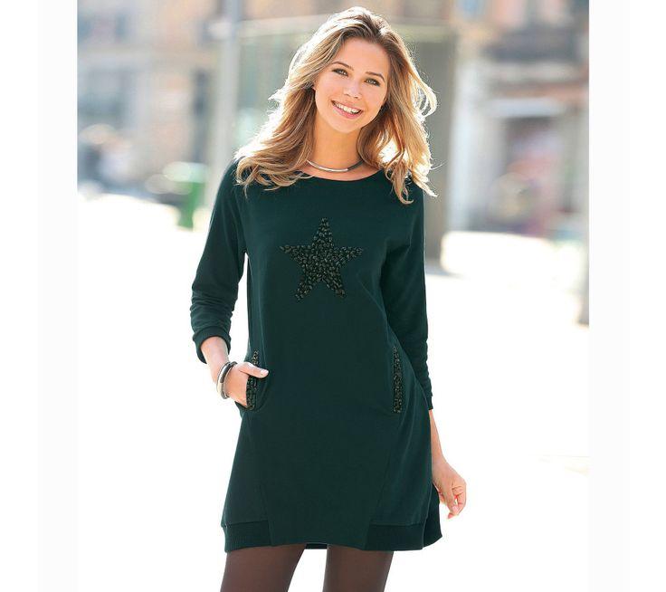 Krátké šaty s dlouhými rukávy a hvězdičkou z kamínků   modino.cz #modino_cz #modino_style #style #fashion #autumn #bestseller #podzim