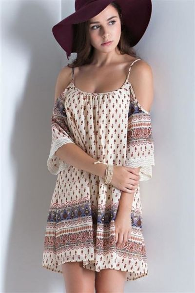 *** Boho Shoulder Dress *** An chiffon ethnic print open shoulder dress with lace accent on sleeve. Slightly scooped back. Adjustable straps. Fully lined. Non-sheer. Woven. Lightweight.