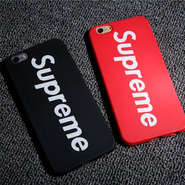 アイフォン7 PLUS ケース おしゃれシュプリームiphone6 plus/7ファッションブランドsupremeアイフォン7/6Sマット素材ソフト携帯カバーTPUシンプル超クール赤と黒男女ペア