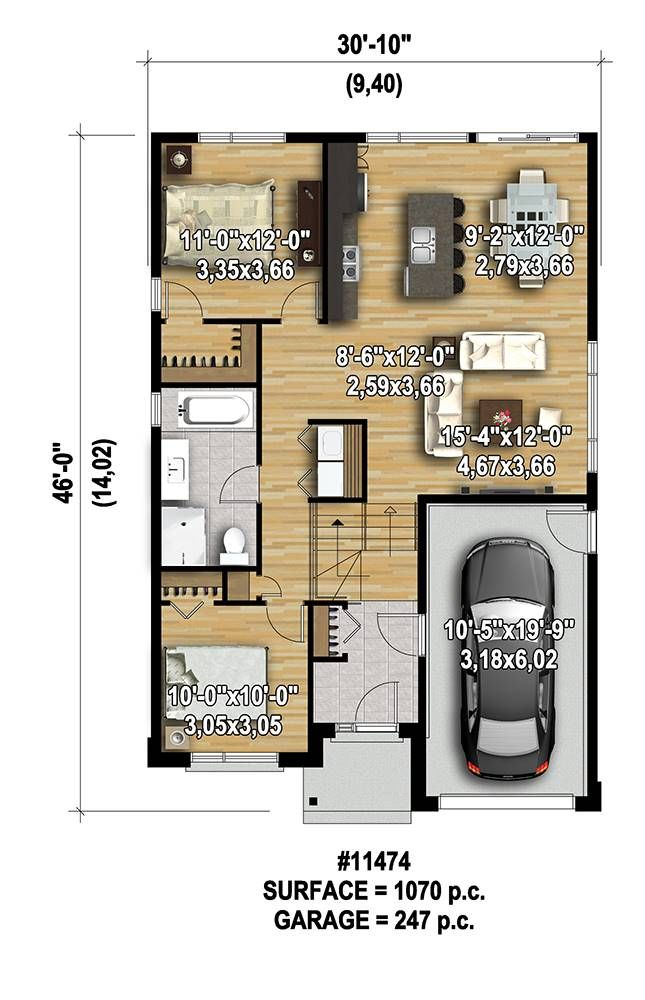 Affordable 2 Bedroom Modern Style House Plan 7568 Modern Style House Plans Model House Plan Garage House Plans Small house plan with garage