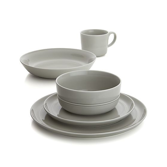 This chic, light grey dinnerware set will look lovely on your tabletop. Add this beautiful set to your wedding registry on Crate & Barrel: http://www.crateandbarrel.com/hue-light-grey-dinnerware/f56367?a=1895 #weddingregistry #wedding