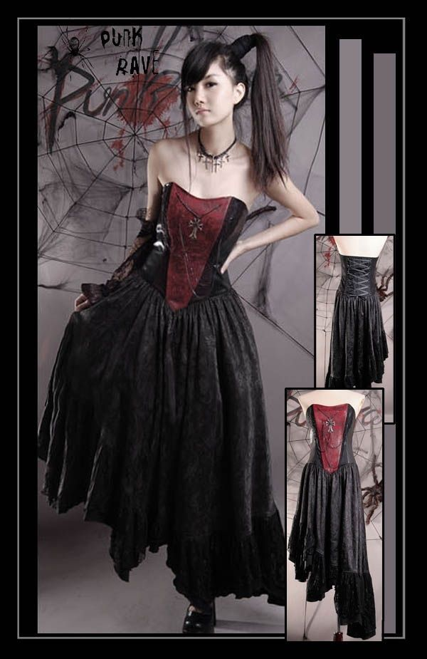 NEW Punk Rave Gothic Rock Black & Red Corset Dress Q-099 ALL STOCK IN AUSTRALIA! #PunkRave #Corset
