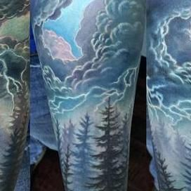 Stormy Skies and Evergreens  Tattoo Design Thumbnail