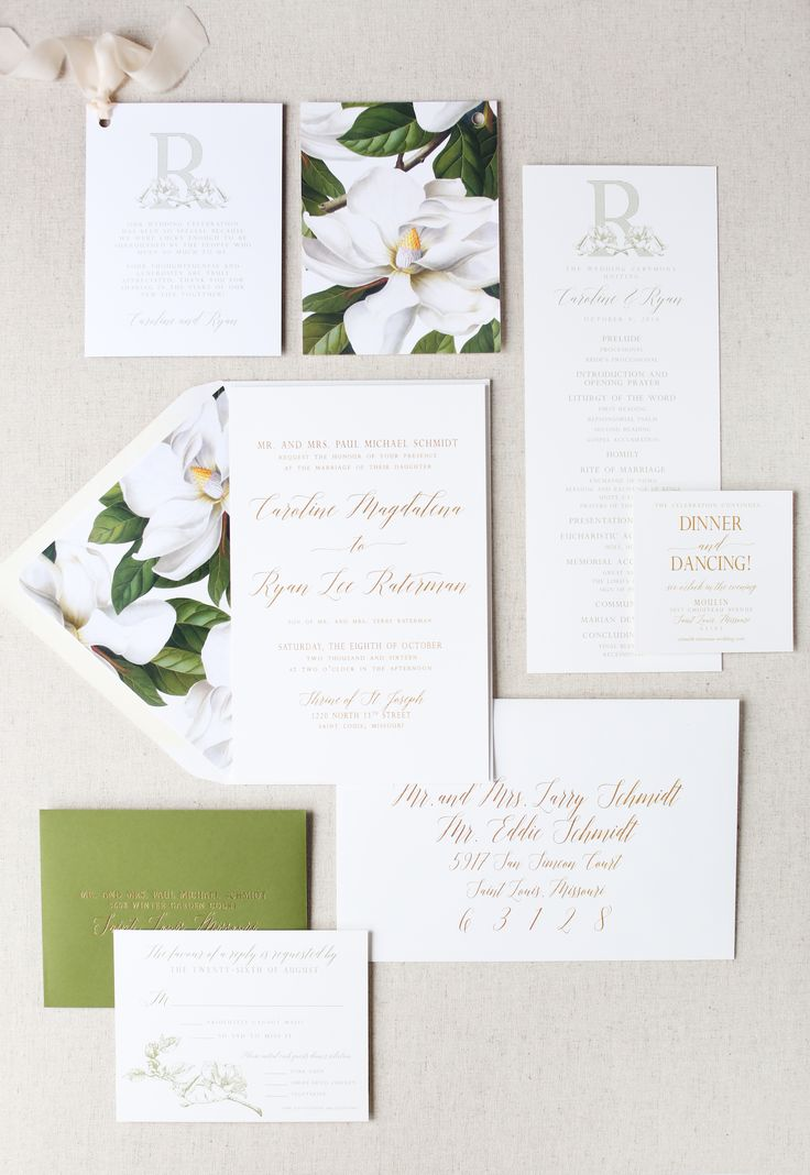 Magnolia Wedding Invitation Wedding Monogram