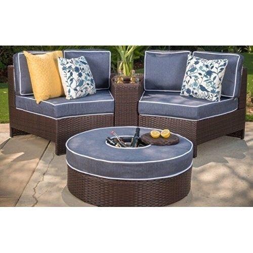Riviera Positano Garden Outdoor Patio Furniture Wicker 4 Piece Semicircular NEW #GardenOutdoorPatioFurniture