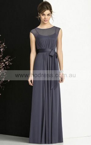 Chiffon Bateau Empire A-line Floor-length Bridesmaid Dresses 0740646--Hodress