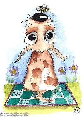 ACEO Original Watercolor Folk Art Illustration Whimsical Animal Pet Dog Bee   eBay