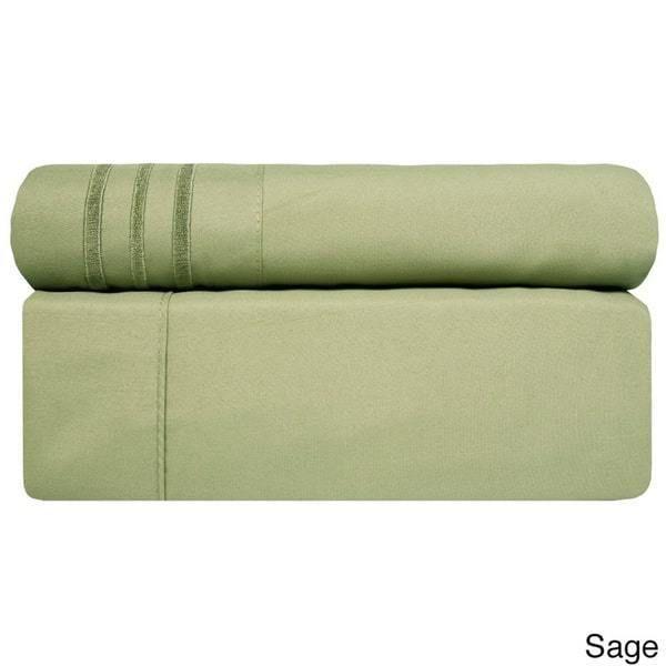 4 Piece Saga Green California King Bed Sheet Set Fitted Flat Pillowcases