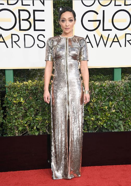 Awards season It Girl Ruth Negga rocks a custom Louis Vuitton gown at the 2017 Golden Globe Awards.