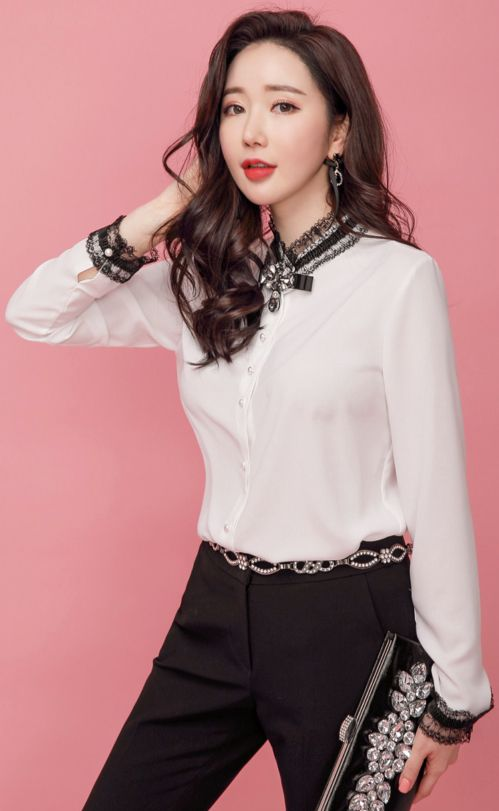 StyleOnme_Lace Accent Pearl Button Blouse #ivory #pearl #blouse #feminine #koreanfashion #kstyle #kfashion #springtrend #seoul #dailylook