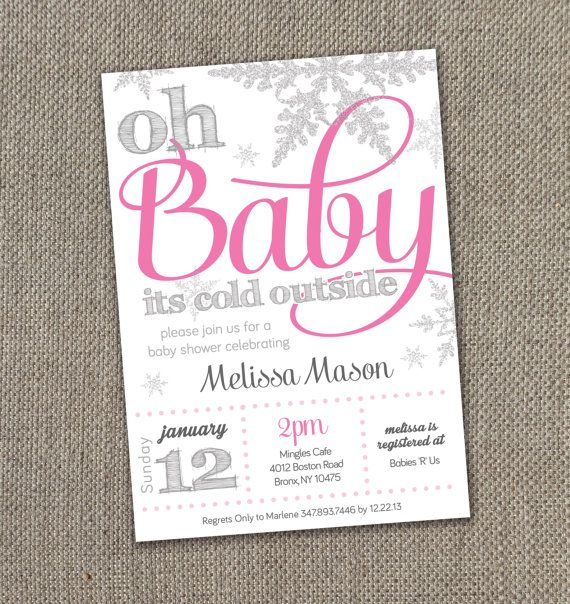 Winter Baby Shower Invitation, Baby Shower Invitation. Winter Wonderland Theme. Oh Baby its Cold Outside. DIY, Snowflakes