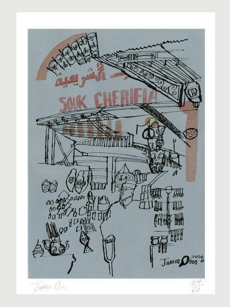 Souk Cherifia, Marrakech by James Oses, Limited Edition Giclée Print, A3 (297 x 420mm)
