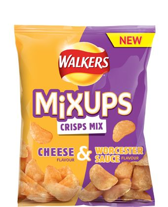 Walkers Mix-Ups Crisps/Potato Chips | Cheese and Worcester Sauce Flavours
