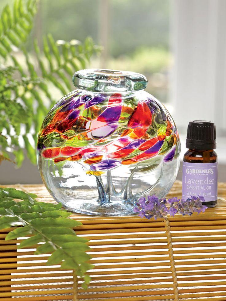 Essential Oil Diffuser Set: Art Glass Diffuser with Lavender Oil