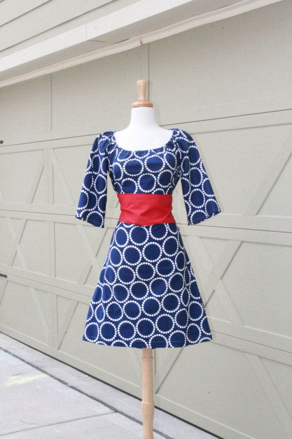 Navy Blue Circles Day Dress With Red Belt xs by SweetHomeBoutique, $85.00