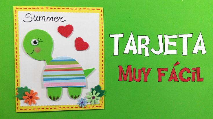 Tarjeta de tortuga infantil para invitar a las fiestas de verano - https://www.manualidadeson.com/tarjeta-tortuga-infantil-verano.html