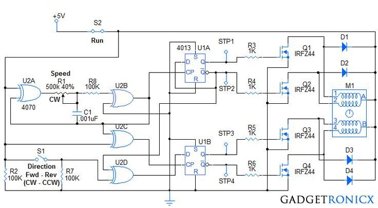 Stepper motor controller circuit diagram using IC's IC 4070 an XOR gate and IC…